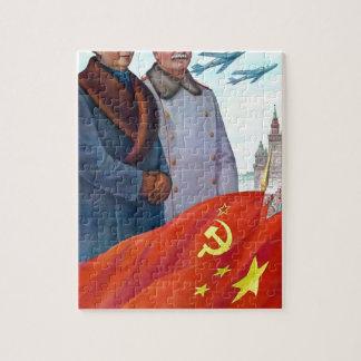 Original propaganda Mao tse tung and Joseph Stalin Puzzle