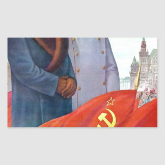 Original propaganda Mao tse tung and Joseph Stalin Rectangular Sticker