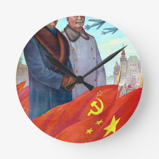 Original propaganda Mao tse tung and Joseph Stalin Round Clock