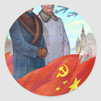 Original propaganda Mao tse tung and Joseph Stalin Round Sticker