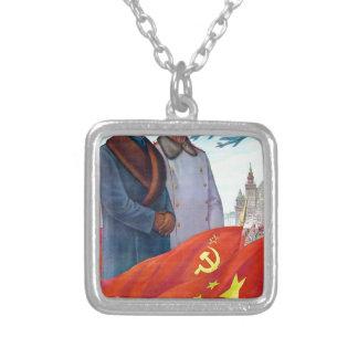Original propaganda Mao tse tung and Joseph Stalin Silver Plated Necklace