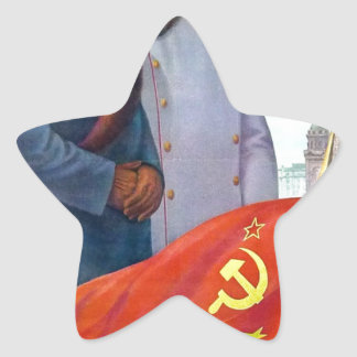 Original propaganda Mao tse tung and Joseph Stalin Star Sticker