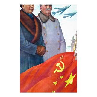 Original propaganda Mao tse tung and Joseph Stalin Stationery