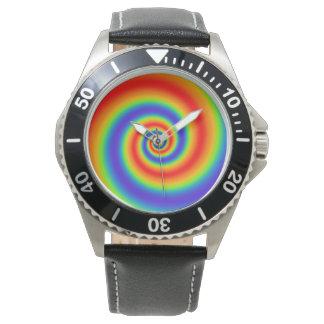 Original Rainbow Gradient Colorful Spiral Effect Wrist Watches
