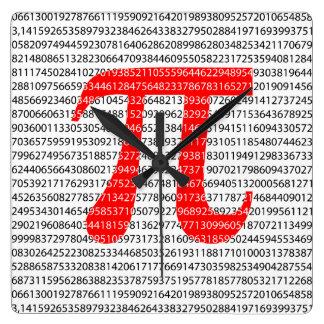 Original red number pi day mathematical symbol square wall clock