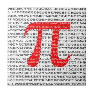 Original red number pi day mathematical symbol tile