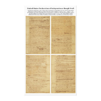ORIGINAL Rough Draft Declaration of Independence Stretched Canvas Print