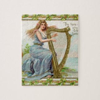 Original Saint patrick's day harp & lady Jigsaw Puzzle