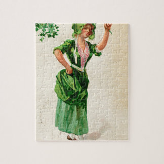 Original Saint patrick's day lady in green Jigsaw Puzzle