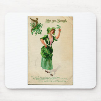 Original Saint patrick's day lady in green Mouse Pad