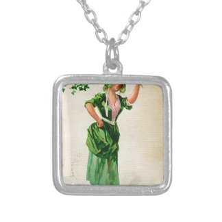 Original Saint patrick's day lady in green Silver Plated Necklace