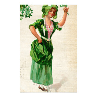Original Saint patrick's day lady in green Stationery