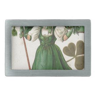 Original Saint patrick's day lady vintage poster Belt Buckle
