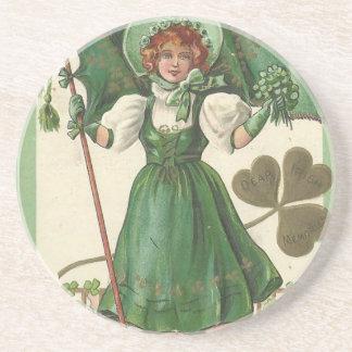 Original Saint patrick's day lady vintage poster Coaster