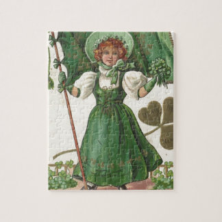 Original Saint patrick's day lady vintage poster Jigsaw Puzzle