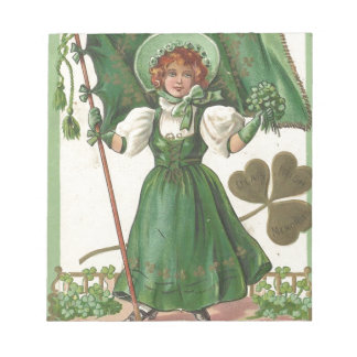Original Saint patrick's day lady vintage poster Notepad