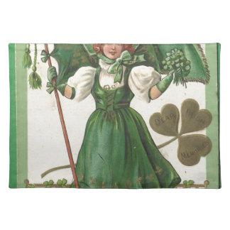Original Saint patrick's day lady vintage poster Placemat