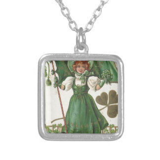 Original Saint patrick's day lady vintage poster Silver Plated Necklace