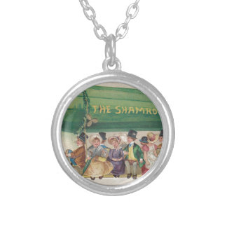 Original Saint Patrick's day vintage shamrock Silver Plated Necklace