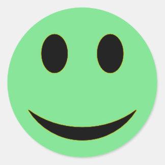 Original Sea Green Smiley Face Round Sticker