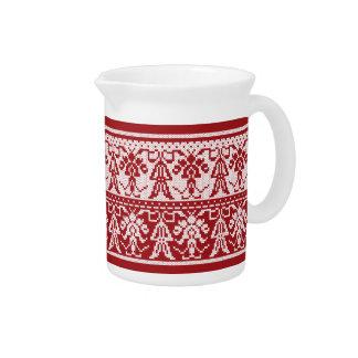 Original Style White isolated cross-stitch pattern Drink Pitcher