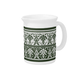 Original Style White isolated cross-stitch pattern Pitcher
