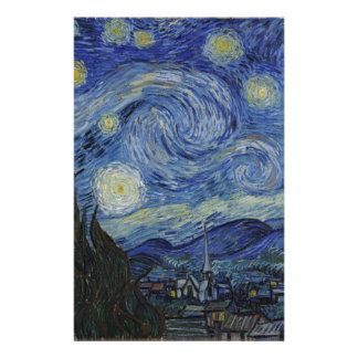 Original the starry night paint stationery