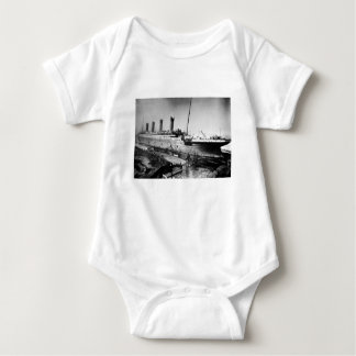 original titanic picture under construction baby bodysuit