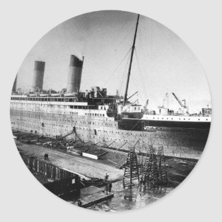 original titanic picture under construction classic round sticker
