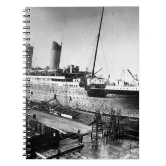 original titanic picture under construction notebook