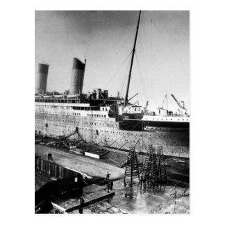 original titanic picture under construction postcard