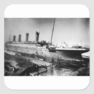 original titanic picture under construction square sticker