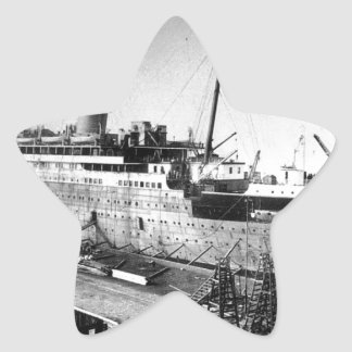 original titanic picture under construction star sticker