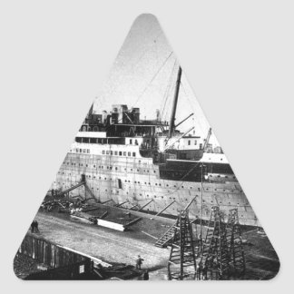 original titanic picture under construction triangle sticker