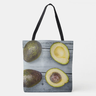 Original tote bag with photo of avocado and wood