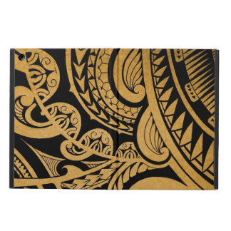 Original tribal tattoo on wood with marker iPad air cover