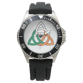 Original Triquetra circle celtic knot Ireland Flag Watch