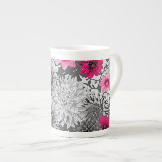Original vibrant pink and grey floral mug