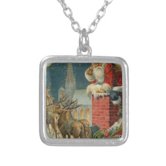 Original vintage 1906 Santa clous poster Silver Plated Necklace