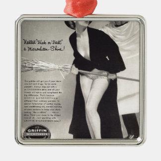 Original vintage halloween  (Griffin ads) Silver-Colored Square Decoration