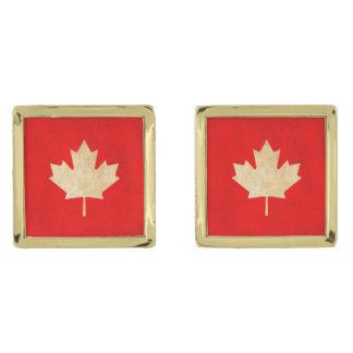 Original Vintage Patriotic canadian red leaf Gold Finish Cuff Links