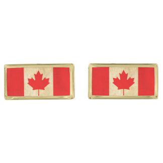 Original Vintage Patriotic National Flag of CANADA Gold Finish Cuff Links