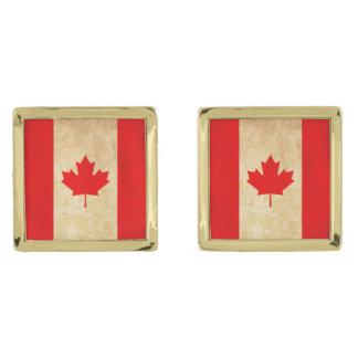 Original Vintage Patriotic National Flag of CANADA Gold Finish Cufflinks