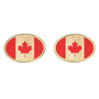 Original Vintage Patriotic National Flag of CANADA Gold Finish Cufflinks