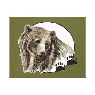 Original Watercolor Bear with Tracks Animal Canvas Print