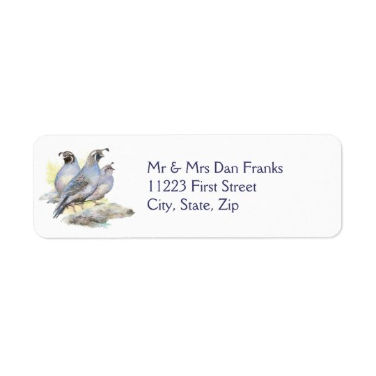 Original Watercolor California Quail Bird Return Address Label