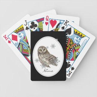 Original Watercolor Custom Name Winter Owl Bicycle Playing Cards