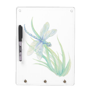 Original Watercolor Dragonfly in Blue and Green Dry Erase Board