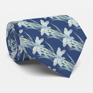 Original Watercolor Dragonfly in Blue and Green Tie