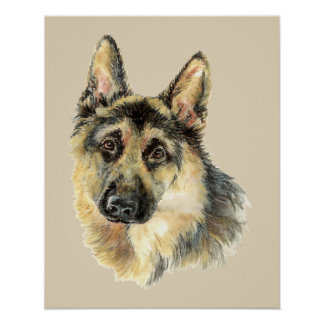 Original Watercolor German Shepherd Dog pet Poster